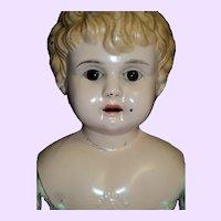 "21"" German Minerva glass eyes  Tin Head doll Free P&I US Buyers"