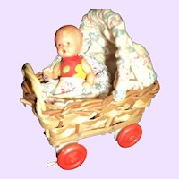Miniature German Baby Carriage & doll Free P&I US Buyers