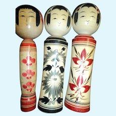 3 Vintage kOKESHI Signed Japanese Dolls Free P&I US Buyers