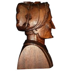 Outstanding Wood Carved Pioneer Woman Bust Free P&I US Buyers