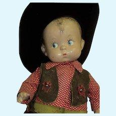 "14"" Effanbee Skippy Compo Cowboy Free P&I US Buyers"
