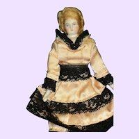 "Lovely  7.5"" wigged Bisque doll house doll Free P&I US Buyers"