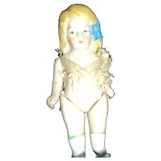 "Sweet 6"" all Bisque Girl Doll w/ bow Free P&I US Buyers"