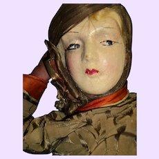 Fabulous Art Decco Boudoir Doll doll for restoration Free P&I US buyers