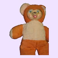 """15"""" Rubber Faced Pink and Orange Teddy Bear Free P&I Us Buyers"""