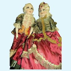 Magnificent pair of French boudoir dolls silk faces Free P&I US Buyers