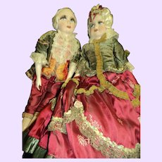 Magnificent pair of French dolls silk faces Free P&I US Buyers