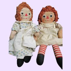 2 Vintage Raggedy Ann Dolls for restoration or parts  Free P&I US Buyers