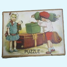 Adorable Wood Two Sided German Puzzle w/box Free P&I US Buyers