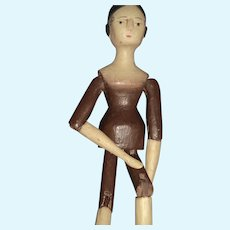 "Different look  11"" Grodnertal wood doll Free P&I US Buyers"