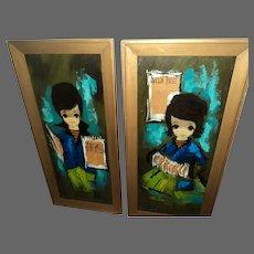 BIG EYE Children Paintings Vanguard Studios circ 60's