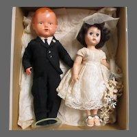 Wonderful Celluloid Groom & Plastic Bride dolls Free P&I US Buyers