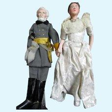Ruby McKim Kimport/Kimcraft Robert E Lee and wife Mary  dolls Free P&I US Buyers
