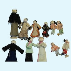 """11 miniature Asian dolls 1"""" to 3""""  Free P&I US Buyers"""