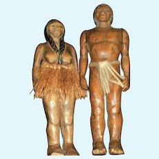 OOAk Pair of Wood Tribal type doll  Free P&I US Buyers
