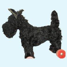 Vintage Small Scottie Dog on Wheels  Free p&I US Buyers
