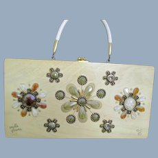 Mille Fleurs Enid Collins of Texas Wooden Purse Free P&I US Buyers