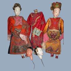 3 Wonderful Asian Opera Dolls for Parts or restoration
