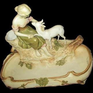 Beautiful Royal Dux Porcelain Girl w/Goat Free P&I U S Buyers