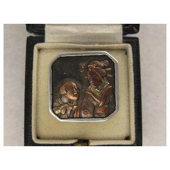 """Antique 1800s Japanese Meiji Era Shakudo """"Geisha"""" Square Ring, Silver Set, Large"""