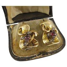 Big Antique 1800s Victorian 15K Gold Garnet Earrings, Large, Heavy, Original Box - French