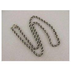 Antique Victorian Silver Twist Link Collar Chain Necklace, 18 inch