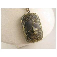 Antique 1800s Victorian Japanese Shakudo Design Metal Vesta Case Locket Pendant, Large