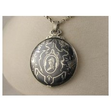 Unusual Large Antique Victorian Niello 'Solider with Pipes' Enamel Black Silver Mirror Slide Locket Pendant, French 1800s