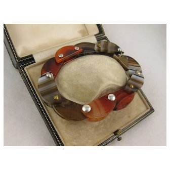 Unusual Antique Victorian Scottish Agate 'Flower Petals' Bracelet, Articulated - Red, Orange, Banded Brown/Chocolate Shades