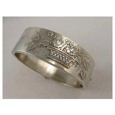 Antique Victorian Silver 'Flower Basket' Applied Leaf Cuff Bangle Bracelet