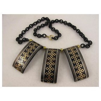 """Striking Antique Victorian 1800s Gold & Silver Tortoiseshell Pique Inlay """"Tribal"""" Statement Necklace, Collar Length 20"""", Unusual"""