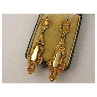 Big Long Antique 1800s Victorian 14K Gold Scroll Earrings