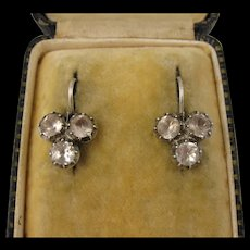 Antique 1800s Georgian - Early Victorian Silver Clover / Shamrock Paste Earrings