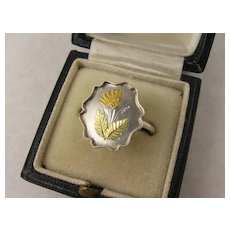 Antique Victorian Silver & Two Colour 9K Gold 'Marigold' Flower Ring, Aesthetic Movement