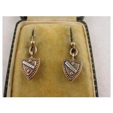 Antique Victorian 9K Rose Gold & Silver Heavy Shield Earrings, Medium Long Drop