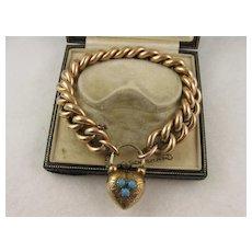 Antique Victorian Substantial Curb Link & Engraved Heart Padlock Bracelet, Rolled Gold, Pinchbeck & Turquoise, Large