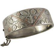 Antique Victorian Silver & 9K Gold 'Flowering Branch' Bangle Bracelet, Cuff Style, Forget Me Not