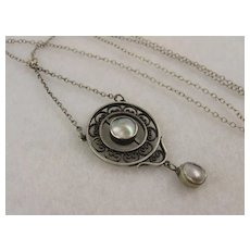 """Antique Edwardian 1900 Arts & Crafts Silver & Mabe Pearl Round Lavalier Pendant Necklace, 16"""""""