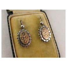 Antique Victorian Silver & 9K Gold Beaded Oval Aesthetic Earrings, Floral Engraving
