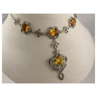 Elegant Victorian Style 1930s Deco Vintage Silver Marcasite Citrine Orange Paste Dropper Necklace, 18 inches