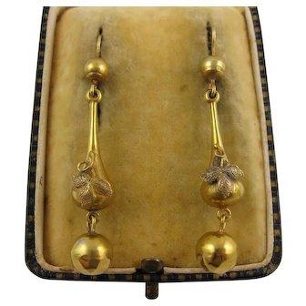 Antique Victorian 18K Gold Long Dangly 'Trefoil Leaf' Earrings