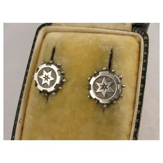 Antique Victorian Silver 'Star' Round Stud Earrings, Beaded