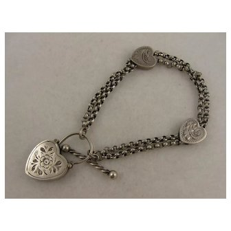 Antique Victorian Silver & Agate Hearts Bracelet, Engraved Padlock Clasp, Albertina