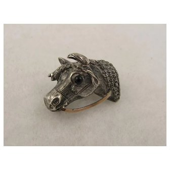 Unusual Antique Victorian Sculptural Silver Horse Head Pin, Rose Gold Detail