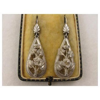 Antique Victorian Sculptural Silver Flower Earrings, Long, Large