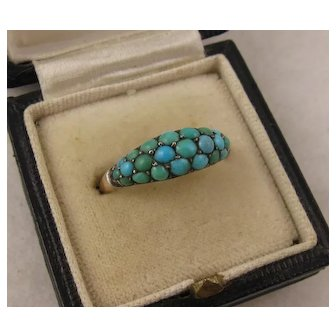 Antique Victorian Turquoise Pave 14K Gold Ring, Paved, Slightly Domed