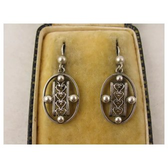 Antique Victorian Silver 'Hearts and Beads' Dangly Earrings, Long
