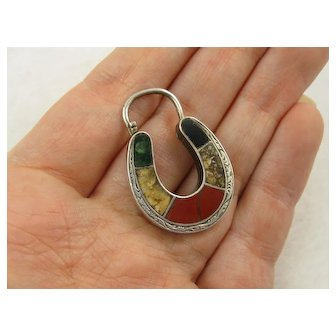 Antique Victorian Large Silver & Agate Horse Shoe Padlock Clasp / Pendant - Red, Green