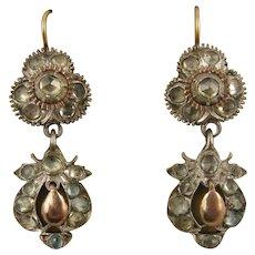 Antique 1800s Georgian Rose Cut Jargoon, Silver & 9K Rose Gold Earrings, Long, Dangly