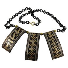 "Striking Antique Victorian 1800s Gold & Silver Tortoiseshell Pique Inlay ""Tribal"" Statement Necklace, Collar Length 20"", Unusual"